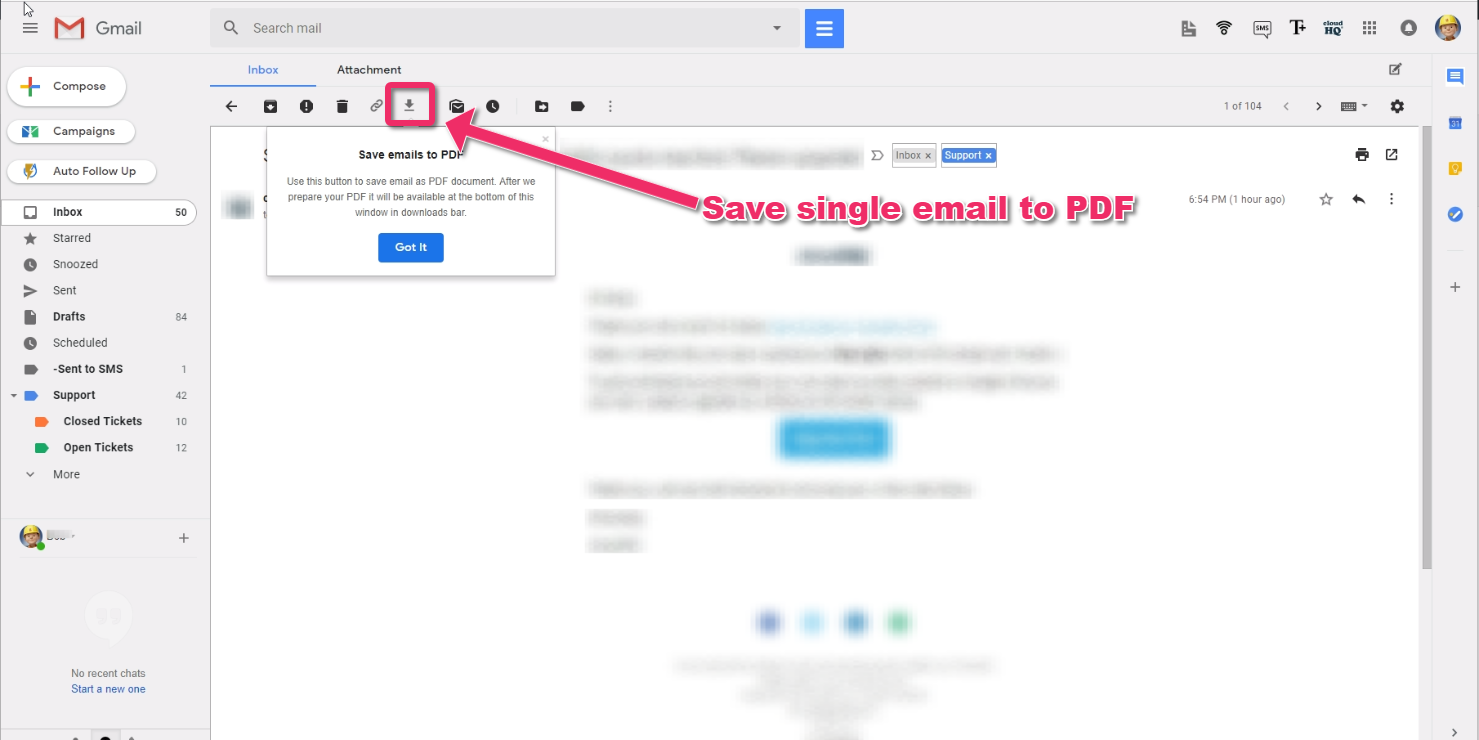 How to save and convert a single email to PDF – cloudHQ Support